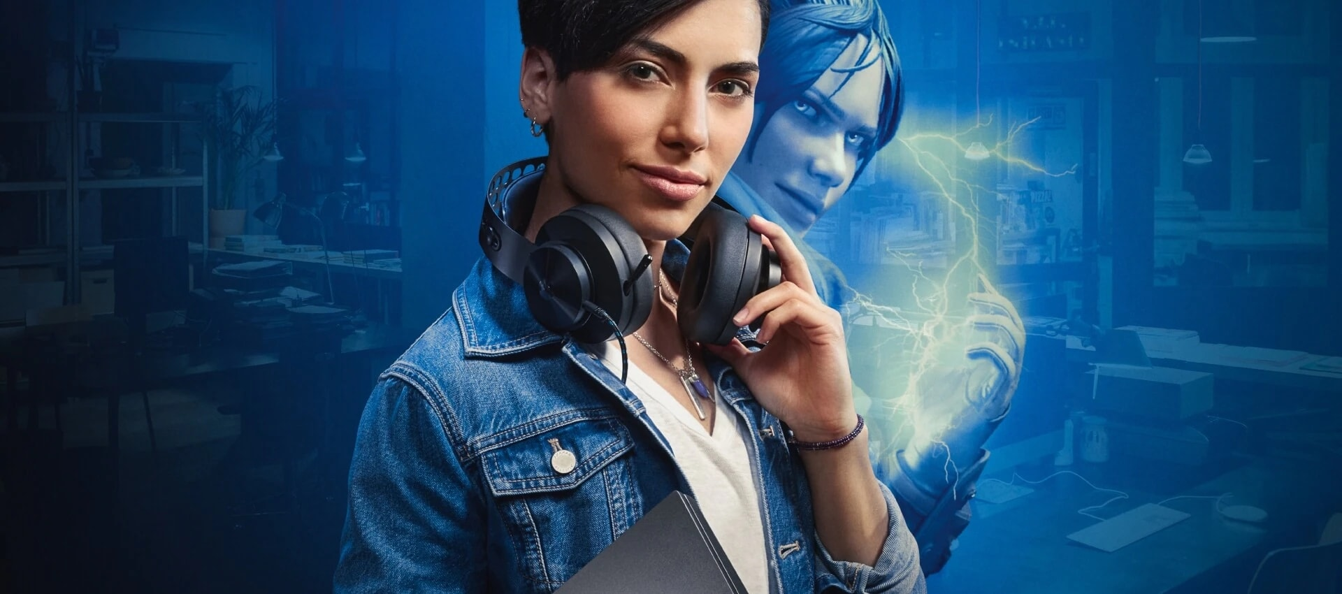 Girl with headphones holding a Lenovo Laptop, and a alter game character of her